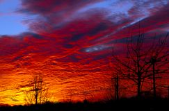 Viele verschiedenen Farben von Sonnenuntergängen Stockbilder