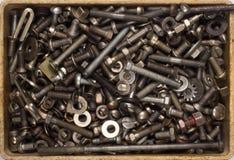 Viele verschiedenen Schrauben, Bolzen, Nüsse, Waschmaschinen, Hintergrund Stockfotos