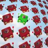 Viele von Roboter geht Hintergrund voran Stockfotos