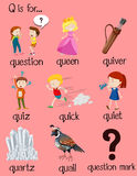 Viele Wörter fangen mit Buchstaben Q an stock abbildung
