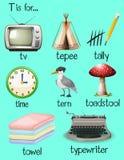 Viele Wörter fangen mit Buchstaben T an lizenzfreie abbildung