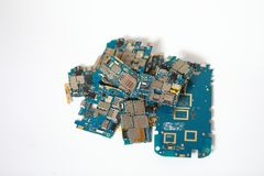 Viele weggeworfenen Leiterplatten Chip, Schaltkreis lizenzfreie stockfotos