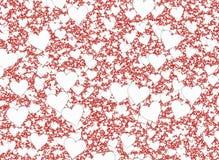 Viele weißen kleinen Herzen auf roten Hintergründen Lizenzfreie Stockfotos
