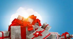 Viele Weihnachtspakete Gemischte Medien Lizenzfreies Stockbild
