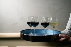 Viele Weingläser unterschiedlicher Wein auf einem Behälter in den Kellner ` s Händen Lizenzfreie Stockfotografie