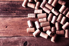 Viele wine Korkenbeschaffenheit Copyspace, Draufsicht Lizenzfreies Stockfoto