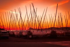 Viele Yachten mit hohen Masten am Pier bei Sonnenuntergang Stockfotografie
