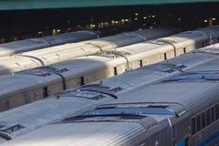 Viele Züge an der Station, Depot Stockfotos