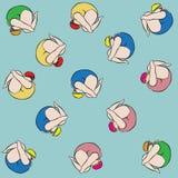 Vielzahl-Badeanzugfarbe des Schwimmenmädchens spinnende Stockbild