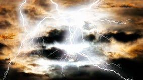 Vielzahl bunte Blitze, die überall schlagen Stockfotografie