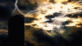 Vielzahl bunte Blitze, die überall schlagen Stockfoto