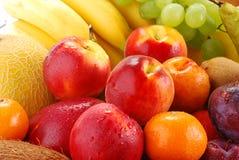 Vielzahl der Früchte mit Tropfen des Wassers Stockbilder