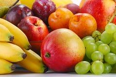 Vielzahl der Früchte mit Tropfen des Wassers Stockbild