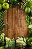 Vielzahl des grünen Gemüses und der Früchte lizenzfreies stockfoto