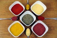 Vielzahl des Kochens der Gewürze auf Löffeln und in den Tellern Lizenzfreies Stockfoto