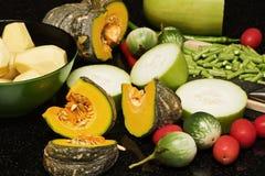 Vielzahl thailändisch vom Gemüse Stockfotos