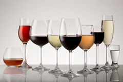 Vielzahl von alkoholischen Getränken Lizenzfreies Stockfoto