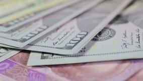 Vielzahl von Banknoten stock video