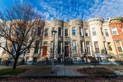 Vielzahl von bunten Reihen-Häusern in Hampden, Baltimore Maryland Lizenzfreies Stockfoto