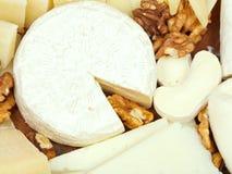 Vielzahl von Käsen auf hölzerner Platte Stockbild