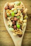 Vielzahl von Nüssen: Acajoubaum, Pistazie, Mandel Lizenzfreies Stockfoto