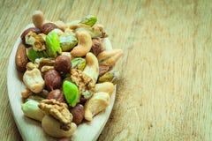 Vielzahl von Nüssen: Acajoubaum, Pistazie, Mandel Stockfotos