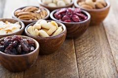 Vielzahl von Nüssen und von Trockenfrüchten in den kleinen Schüsseln Stockfotografie