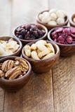 Vielzahl von Nüssen und von Trockenfrüchten in den kleinen Schüsseln lizenzfreies stockfoto