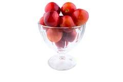 Vielzahl von verschiedenen roten Früchten: Kirschepflaumen Stockbilder