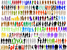 Vielzahlart und weise, bunte Schattenbilder des Geschäfts Stockbilder