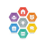 Vielzwecksatz Netzikonen für Geschäft, Finanzierung und Kommunikation Stockbilder