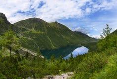 Viem on Morskie Oko from the path to the Czarny Staw, Tatra, Poland royalty free stock photography