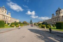 VIENA, ÁUSTRIA - 7 DE OUTUBRO DE 2016: Maria Theresien Platz It é nomeada em honra da imperatriz Maria Theresa Viena, Áustria nat imagem de stock royalty free