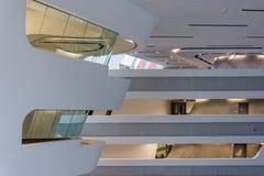 Viena/Austria/12 de noviembre de 2017: Interior param?trico del edificio de biblioteca de Zaha Hadids en Viena imágenes de archivo libres de regalías