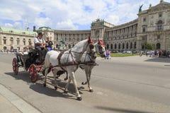 Viena, Austria, el 23 de julio - turistas en un carro traído por caballo del fiaker el 23 de julio de 2014, Viena, Austria Foto de archivo