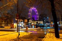Viena, Austria - 1 12 2018: Parque del prater de Viena, Austria Escena de la noche del destino turístico famoso Atraction diverti fotografía de archivo libre de regalías