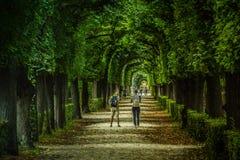 Viena, Austria, septiembre, 15, 2019 -: Turistas que caminan en los jardines del palacio de Schonbrunn, un imperial anterior imagen de archivo libre de regalías