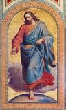 VIENA - 27 DE JULIO: Fresco de Jesus Christ como vendedor de semillas de la parábola en el nuevo testamento de Karl von Blaas a p imágenes de archivo libres de regalías