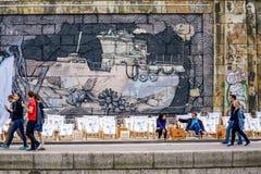 Viena etiqueta a ilustração perto de Danube River imagem de stock