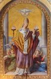 Viena - fresco de St Gregory de Leopold Schulz a partir del año 1856 en la iglesia de Altlerchenfelder Imágenes de archivo libres de regalías