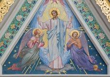 Viena - o mosaico de Jesu Christ pela sala de trabalho de Societa Musiva Veneciana do ano 1896 na catedral ortodoxo do russo imagens de stock