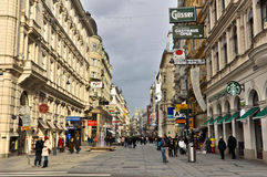 Viena Pedestrian Street. Vienna, Austria - January 12, 2013: Main pedestrian street in central Vienna. The pedestrian dominated centre of Vienna is packed with Stock Photography