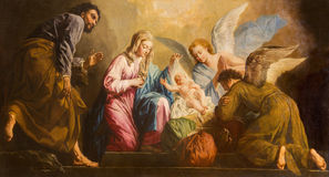 Viena - a pintura da natividade no presbitério da igreja de Salesianerkirche por Giovanni Antonio Pellegrini (1725-1727) Imagens de Stock