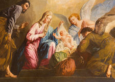 Viena - a pintura da natividade no presbitério da igreja de Salesianerkirche por Giovanni Antonio Pellegrini (1725-1727) Foto de Stock