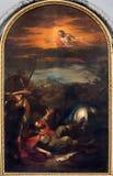 Viena - pintura de la conversión de San Pablo a partir. del centavo el 19. en la iglesia de Augustinerkirche o de Augustinus Foto de archivo libre de regalías