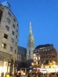 Viena Stephanplatz en la puesta del sol foto de archivo