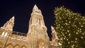 Viena - townhall por el mercado de la Navidad en la noche Imagen de archivo libre de regalías