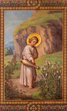 Vienan - Fresco of little Jesus as gardemer by Josef Kastner 1906 - 1911 in Carmelites church in Dobling. Stock Photography