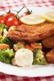 Viener炸肉排,与健康菜的面包牛排 免版税库存照片