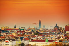 Vienna aerial view in the evening Royalty Free Stock Images